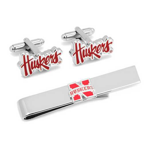 PD-NCH2-CT: Nebraska Cornhuskers Cufflinks and Tie Bar Gift Set