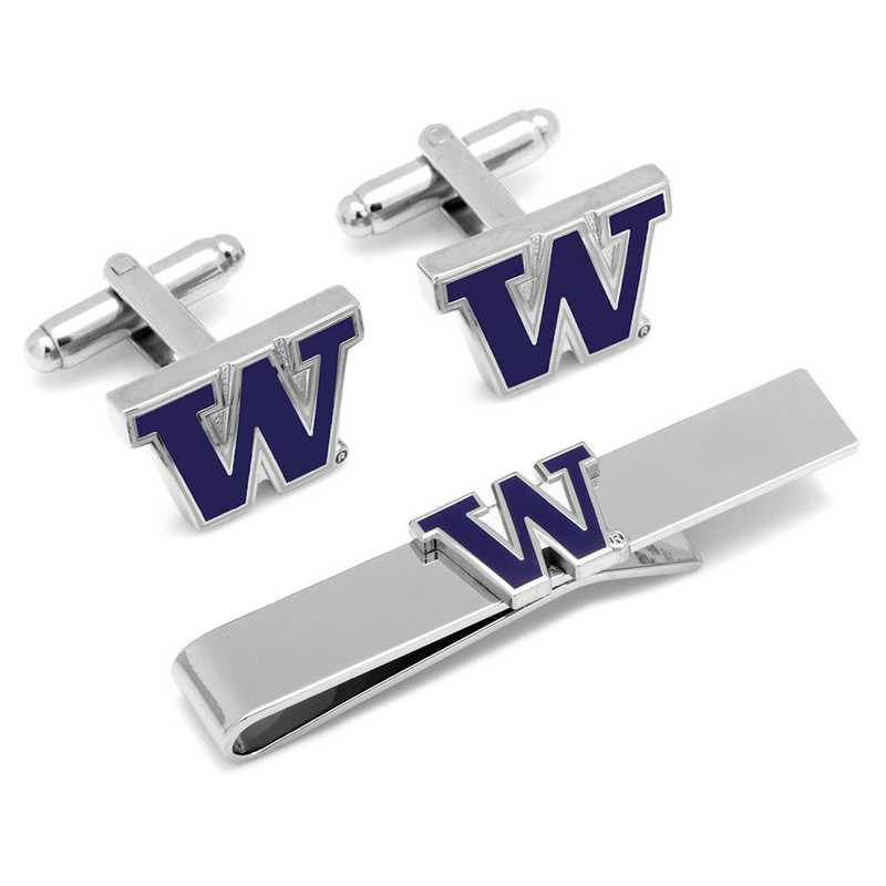 PD-WA-CT: University of Washington Cufflinks and Tie Bar Gift Set
