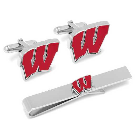 PD-WISC-CT: University of Wisconsin Badgers Cufflinks and Tie Bar Set