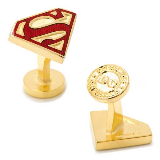 DC-SSTE-GL: Gold Enamel Superman Shield Cufflinks