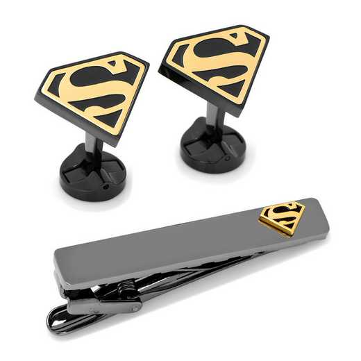 DC-SUPGLD-TC: Black and Gold Superman Tie Clip