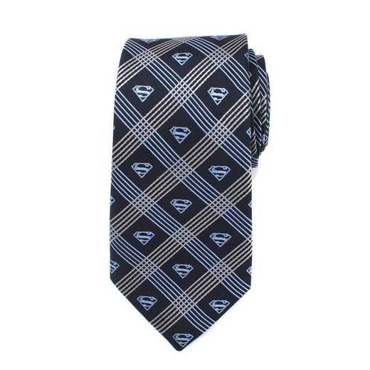 DC-SMPLD2-GRYB-TR: Superman Shield Navy Plaid Mens Tie