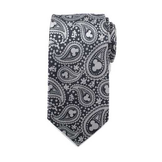 DN-MPS-GRY-TR: Mickey Mouse Gray Paisley Mens Tie