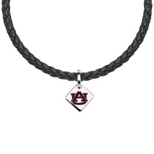 615789045571: Auburn University Leather Necklace with SS Tag