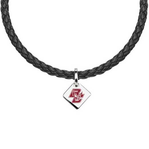 615789386209: Boston College Leather Necklace with SS Tag