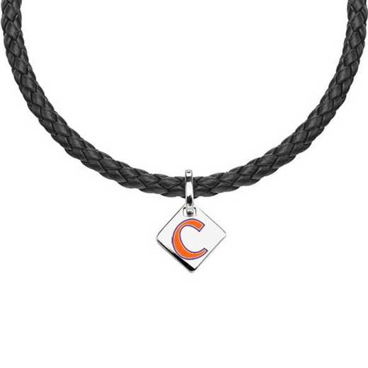 615789154587: Clemson Leather Necklace with SS Tag