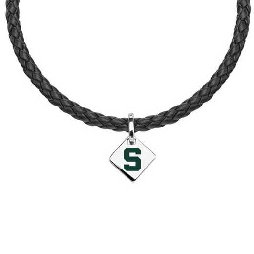 615789116080: Michigan State Leather Necklace with SS Tag