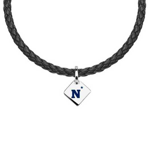 615789455615: Naval Academy Leather Necklace with SS Tag