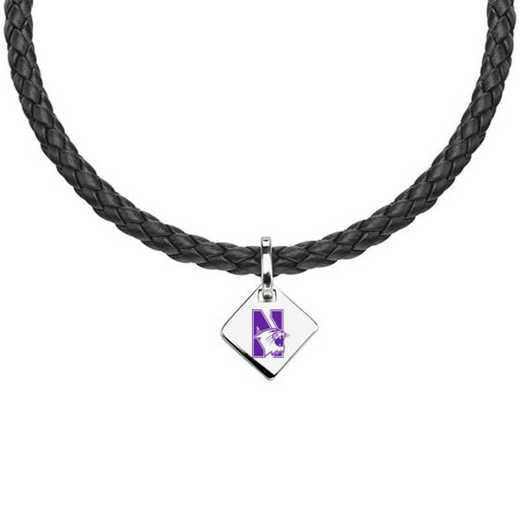 615789916161: Northwestern Leather Necklace with SS Tag