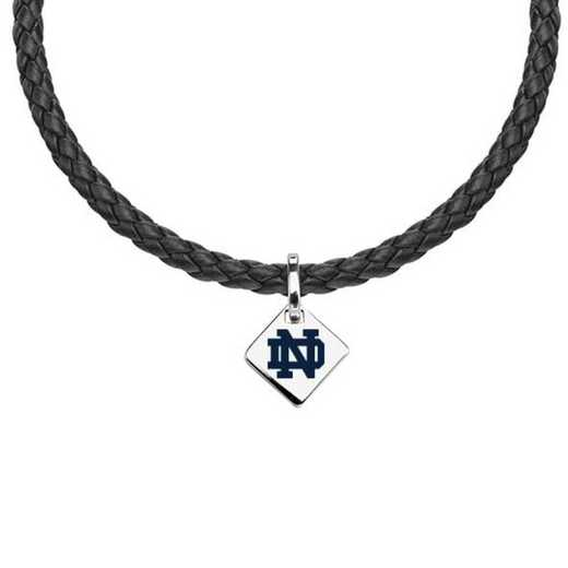 615789833833: Notre Dame Leather Necklace with SS Tag
