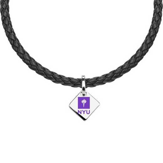 615789462750: NYU Leather Necklace with SS Tag