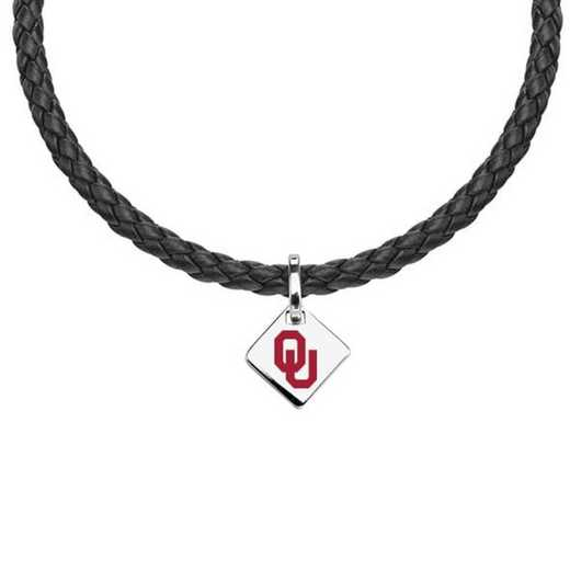 615789281221: Oklahoma Leather Necklace with SS Tag