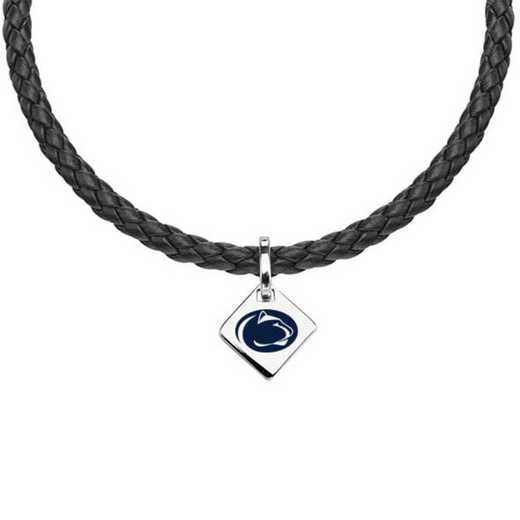 615789344490: Penn State Leather Necklace with SS Tag