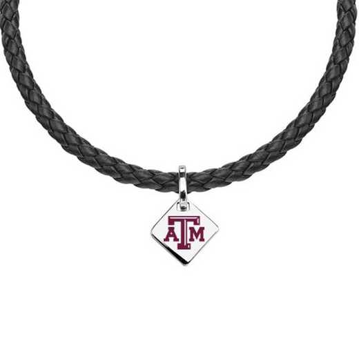 615789750741: Texas A&M Leather Necklace with SS Tag