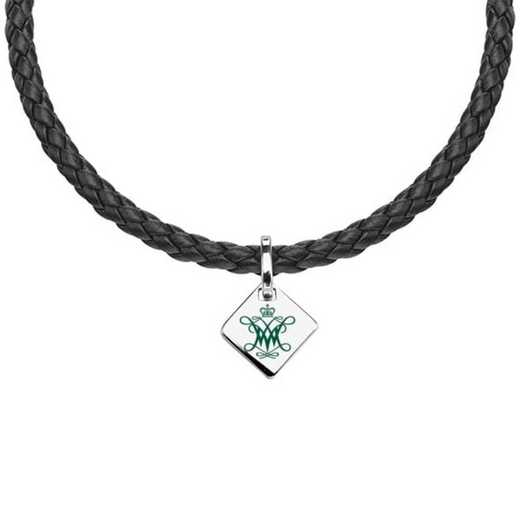 615789252702: College of William & Mary Leather Necklace with SS Tag