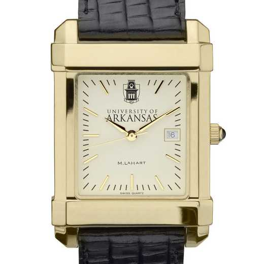 615789320463: univ of Arkansas Men's Gold Quad w/ Leather Strap