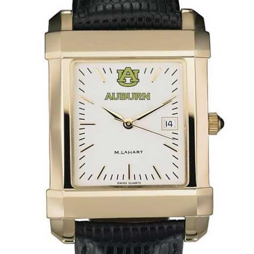 615789596547: Auburn Men's Gold Quad w/ Leather Strap
