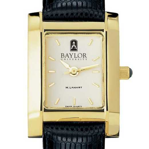 615789049036: Baylor Women's Gold Quad w/ Leather Strap