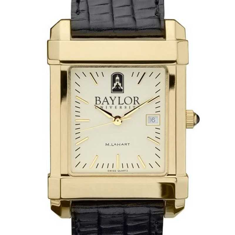 615789904199: Baylor Men's Gold Quad w/ Leather Strap
