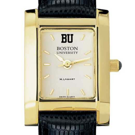 615789614692: Boston univ Women's Gold Quad w/ Leather Strap