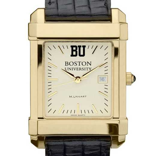 615789827450: Boston univ Men's Gold Quad w/ Leather Strap
