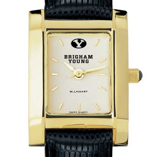 615789652342: Brigham Young univ Women's Gold Quad w/ Leather Strap
