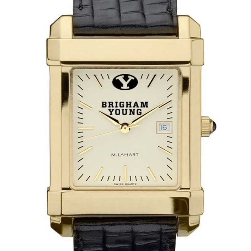 615789730019: Brigham Young univ Men's Gold Quad w/ Leather Strap