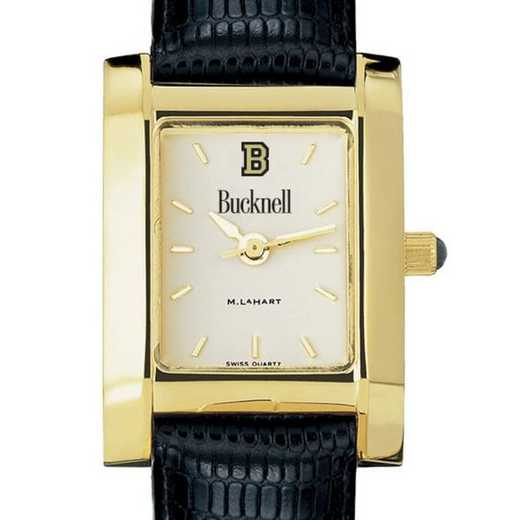 615789927303: Bucknell Women's Gold Quad w/ Leather Strap