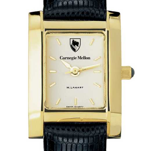 615789186878: Carnegie Mellon univ Women's Gold Quad w/ Leather Strap