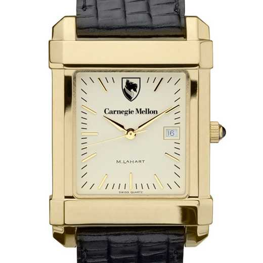 615789448556: Carnegie Mellon univ Men's Gold Quad w/ Leather Strap