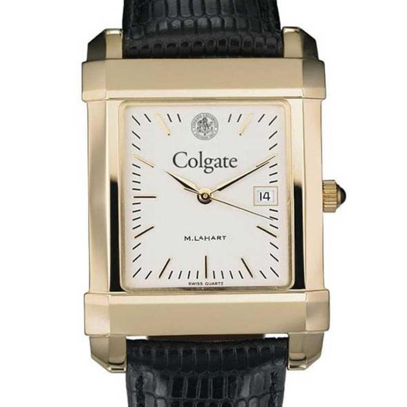 615789381136: Colgate Men's Gold Quad w/ Leather Strap