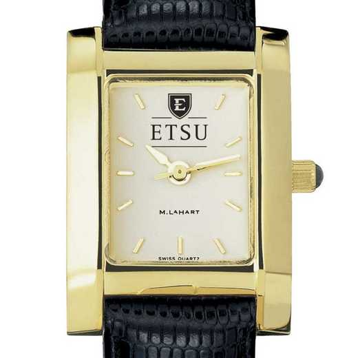 615789871286: East Tennessee State univ Women's Gold Quad w/ Leather Strap