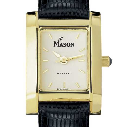 615789730484: George Mason univ Women's Gold Quad w/ Leather Strap