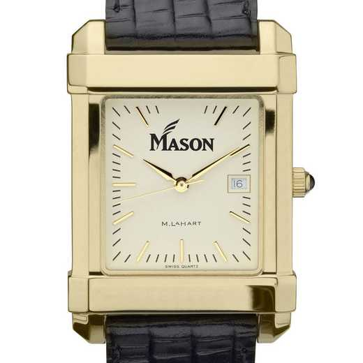 615789967477: George Mason univ Men's Gold Quad w/ Leather Strap