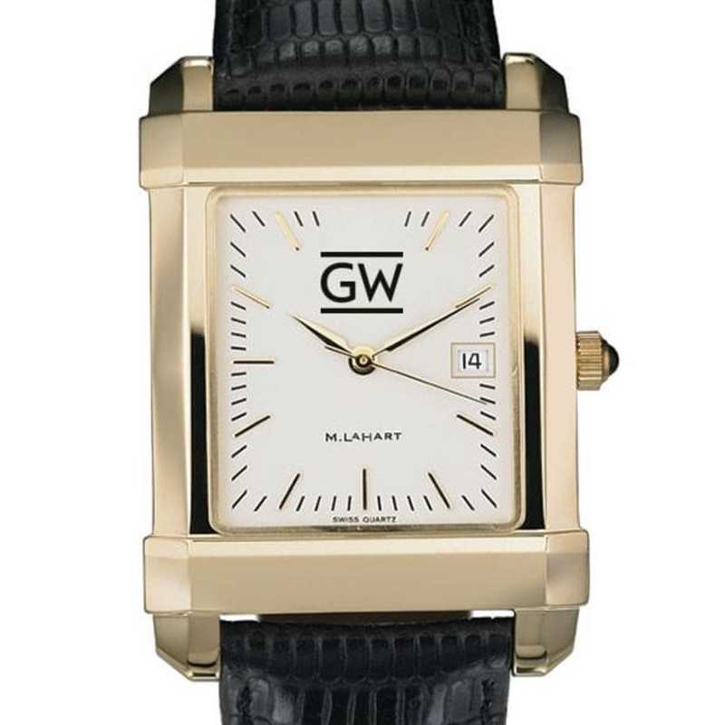615789265689: George Washington Men's Gold Quad w/ Leather Strap