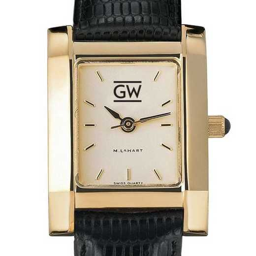 615789343332: George Washington Women's Gold Quad w/ Leather Strap