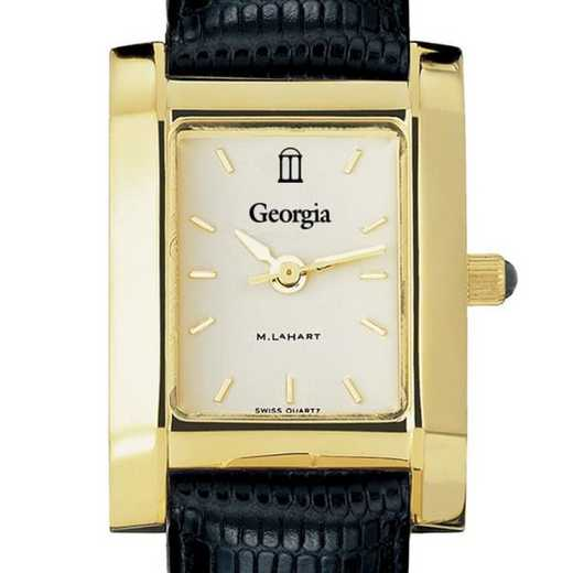 615789229735: Georgia Women's Gold Quad w/ Leather Strap