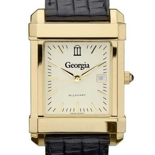 615789404941: Georgia Men's Gold Quad w/ Leather Strap