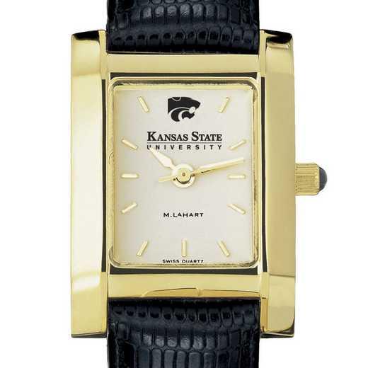 615789709749: Kansas State univ Women's Gold Quad w/ Leather Strap