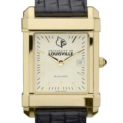 615789751281: univ of Louisville Men's Gold Quad w/ Leather Strap