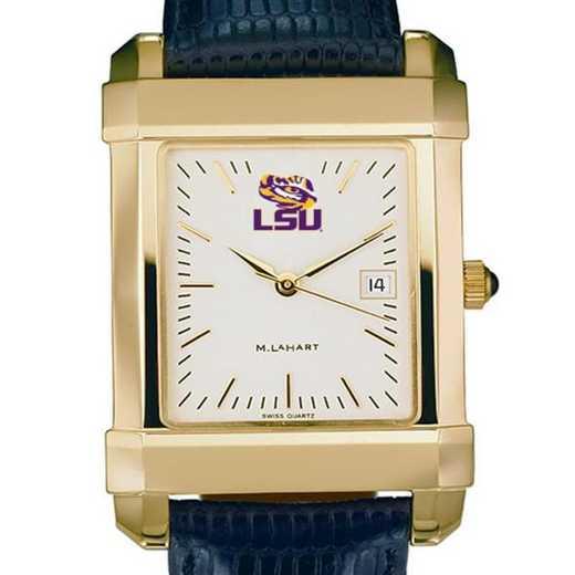 615789318996: LSU Men's Gold Quad w/ Leather Strap