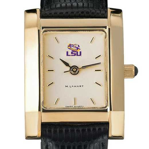 615789400714: LSU Women's Gold Quad w/ Leather Strap