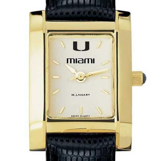 615789961499: Miami Women's Gold Quad w/ Leather Strap