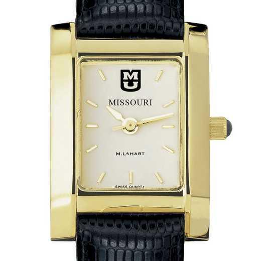 615789685845: univ of Missouri Women's Gold Quad w/ Leather Strap