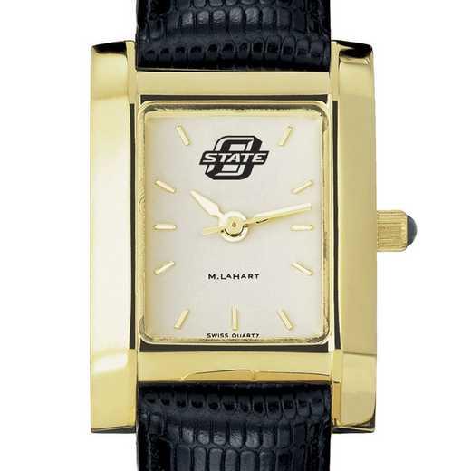 615789300847: Oklahoma State univ Women's Gold Quad w/ Leather Strap