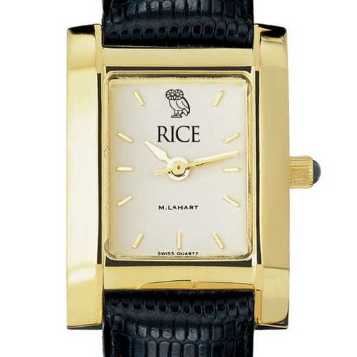 615789267263: Rice univ Women's Gold Quad w/ Leather Strap