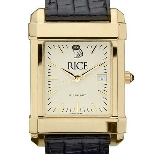 615789519645: Rice univ Men's Gold Quad w/ Leather Strap