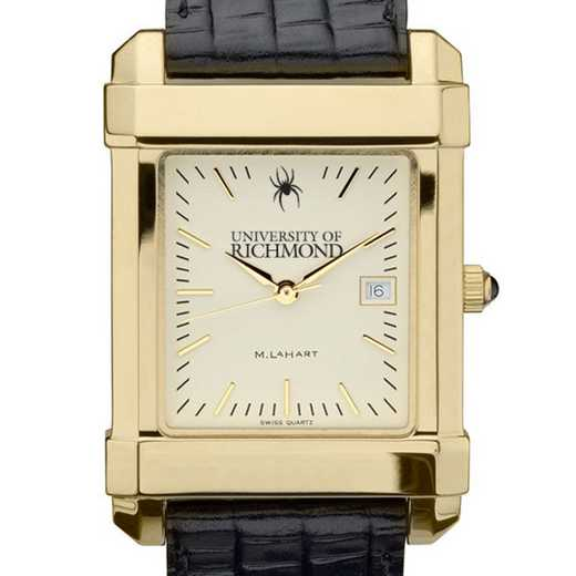 615789405573: univ of Richmond Men's Gold Quad w/ Leather Strap