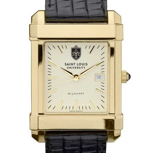 615789918233: Saint Louis univ Men's Gold Quad w/ Leather Strap