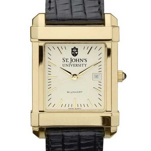 615789129905: St. John's Men's Gold Quad w/ Leather Strap